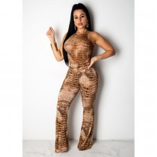 Snake Skin Print Sleeveless Top And Boot Cut Pant Set CHY-1168