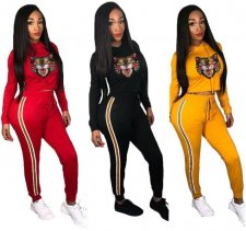 Tiger Head Print Hooded Tops And Pants 2 Piece Suit MEM-8175