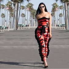 Red Camouflage Ruffles Off Shoulder Jumpsuits HM-6011