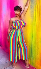 Colorful Striped Strapless Wide Leg Jumpsuit CYA-8140