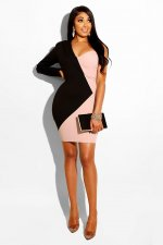Patchwork One Shoulder Mini Bodycon Dress SH-3512