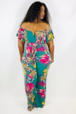 Floral Print Slash Neck Jumpsuit MOF-5061