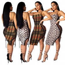 Side Lace-Up Bodycon Dress TE-3666