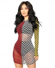 Multi Plaid Sexy Club Dress YIS-708