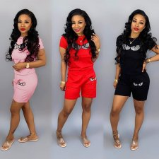Plus Size Tracksuit Short Sleeve 2 Piece Set HGL-1122