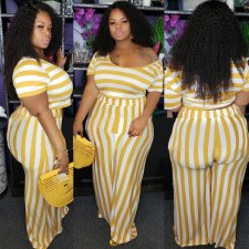 Big Size 4XL Stripes Short Sleeve Two Piece Pants Set OMF-069