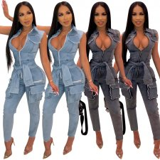 Denim Sleeveless Zipper Pocket Skinny Jeans Jumpsuits ME-314