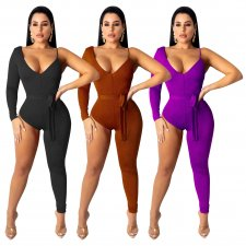 Sexy One Shoulder Asymmetry Bodycon Jumpsuits SHD-9169