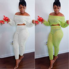 Sexy Fishnet Hollow Off Shoulder 2 Piece Pants Set MDF-5083