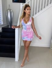Sexy Printed Sleeveless Bodycon Mini Dresses SC-644