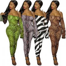 Leopard Print Off Shoulder Long Sleeve Bodycon Jumpsuit YF-9501