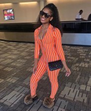 Striped V Neck Three-quarter Sleeve Jumpsuits FNN-8192
