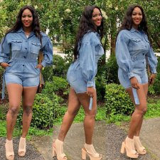 Plus Size Denim Long Sleeve Button Belted Jeans Playsuit LA-3122