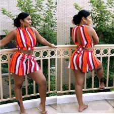 Striped Sleeveless Open Back Two Piece Shorts Set SHE-7107