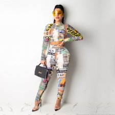 Letter Newspaper Long Sleeve Two Piece Sets TE-3842
