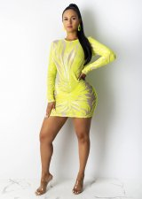 Sexy Sequins See Through Long Sleeve Mini Dresses CYA-8163