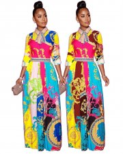 Fashion Printed Bow Tie Big Swing Long Maxi Dresses YSF-308