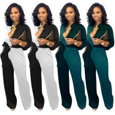 Fashion Patchwork Long Sleeve One Piece Jumpsuits ME-333