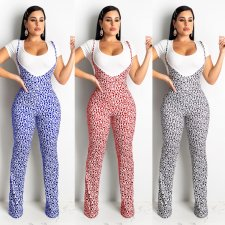 Casual T Shirt And Printed Suspenders Pants 2 Pieces CHY-1191