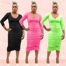 Solid V Neck Long Sleeve Ruched Bodycon Midi Dress BY-3287