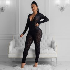Sexy Mesh See Through Leopard Print Bodycon Jumpsuits YS-8387