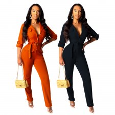 Solid Long Sleeve Notched Neck Button Up Sashes Jumpsuits BS-1121