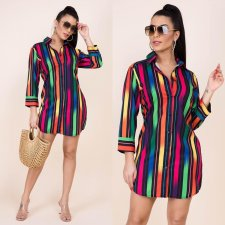 Colorful Striped Print Long Sleeve Shirt Dresses YIY-5107