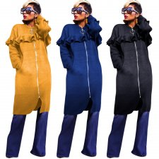 Plus Size Solid Ruffles Full Sleeve Zipper Long Coats YN-030