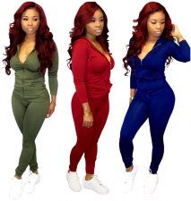 Plus Size Hooded Zipper Long Sleeve 2 Piece Suits BS-1113