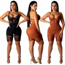 Sexy Spaghetti Strap Bodycon Lace Playsuits OSM-5250