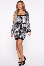 Houndstooth Print Long Sleeve Bodycon Mini Dress BER-1865