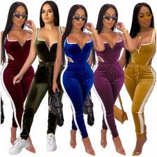 Casual Velvet Bodysuit Top And Pants Two Piece Suits OSM-5246