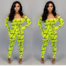 Letter Print Mesh Bodysuit And Pants 2 Piece Suits OJS-9157