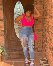 Plus Size Sexy Denim Ripped Holes Skinny Jeans NY-002