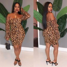 Sexy Leopard Print Off Shoulder Mini Dresses SHA-6101
