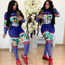 Casual Printed Long Sleeve Skinny Jumpsuits HM-6161