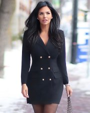 Black Notched Neck Double-breasted Blazer Mini Dress YMT-6112