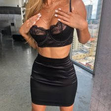 Sexy Camisole Mini Skirt Lace Two Piece Sets FL-93450