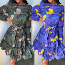Camouflage Print Long Sleeve A-line Mini Dresses KSN-5073