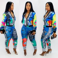 Casual Printed Jacket Top And Pants Two Piece Sets CY-1952