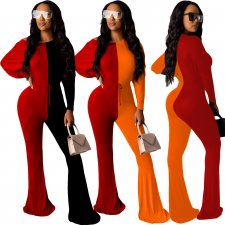 Contrast Color Long Sleeve One Piece Jumpsuits YIY-5114