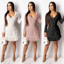 Sexy Lace Backless Long Sleeves Mini Dresses OY-6060