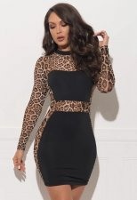 Leopard Print Patchwork Mini Bodycon Dresses CL-6032