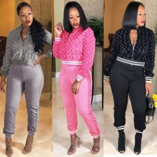 Solid Zipper Tops Long Pants Two Piece Sets YIM-8065