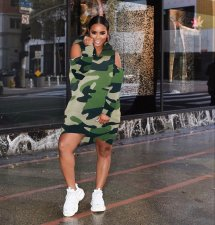 Camo Print Cold Shoulder Long Sleeve Mini Dress KSN-5078