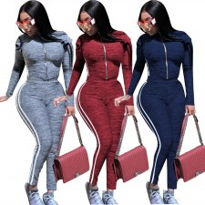 Plus Size Casual Sporty Zipper Two Piece Sets YN-058