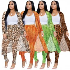 Plus Size Printed Long Cardigan And Pants 2 Piece Sets NK-8479