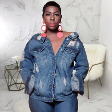 Plus Size Long Sleeve Back Zipper Denim Jacket Coat SMR-9426