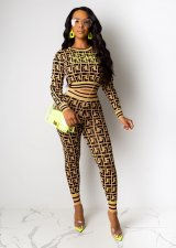 Geometric Print Long Sleeve Two Piece Outfits SHD-9184