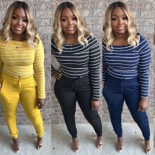 Plus Size Casual Striped Long Sleeve Two Piece Sets HZM-1025